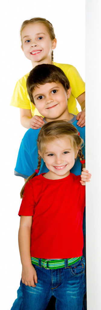 Cute little kids ower a white background